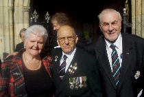 Harry Patch Memorial Service, St Petroc's Bodmin: Wendy Joll, Swanny Swanson, Jack Madron (Courtesy: T Joll)