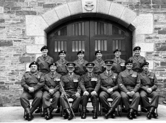 Depot SNCO's 1957: Front (l-R) C/Sjt Perret, CSM Hallett., RSM Royffe, Maj Ruttledge, Lt Peters-Dickie, CSM Steer, APTC C/Sjt Oram. Rear: (?) Sjt Mackay, Sjts Howell, Rich, Basham, Edwards