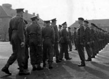 AAI Spring 1953. Behind Insp Officer LT Col Leisching CO, Major PD Watson OC B Coy, Major C Sayers 2IC Bn, Capt J Tanner Adjutant