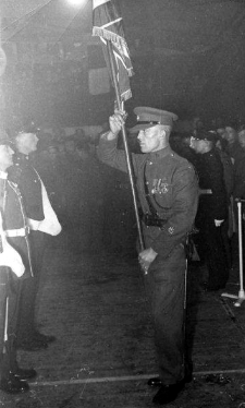 RSM Royffe in Ceremony of The Colours at a Lucknow Ball in Minden either 1952 or 1953