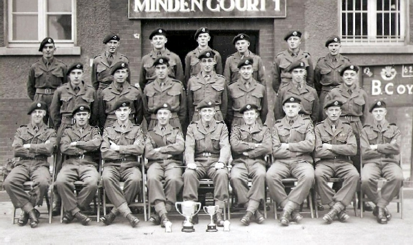 Minden 1952. Back row left to right: Kellow, ?, ?, ?, Whiskey Morgan, Jack Madron, ?, Mid Row: ?, ?, ?, John Evans, ?, Blackmoor, Maunder. Front row: ?, ?, ?, ?, ?, ?, Cpl Carling, ?, ?.