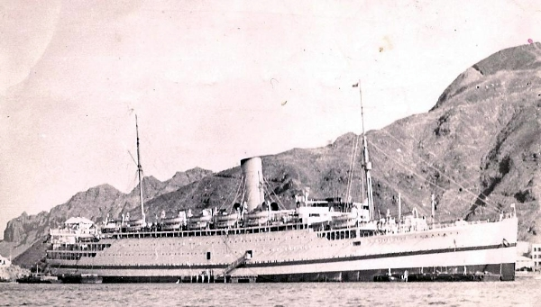 Empire Clyde, location unknown (postcard from onboard Feb 1954)
