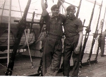 Joe Tippett and Dave Allen on HMT Empire Clyde Feb 1954