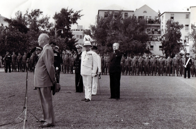 March 1957. President Eisenhower and Brit PM Harold McMillan. Honour Parade, Allbuoys Point Hamilton
