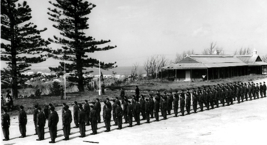 """A"" Company 1DCLI, Prospect Garrison Bermuda, March 1954. Taking over the Garrison, under Major Williams."