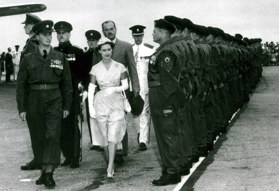 March 1955. HRH Princess Margaret inspecting A Company. Major JA Marsh CO.