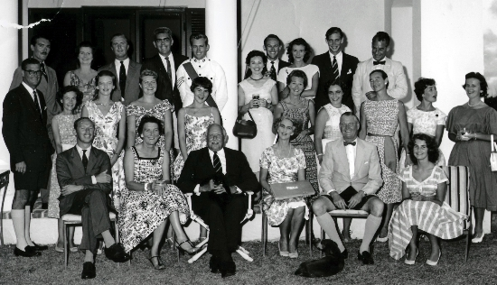 Govt House Function 1957.  Major & Mrs Marsh rear row left.