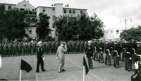 A Company, 1DCLI and American Marines addressed by President Eisenhower. Allbuoys Point, 1957 Big 4 Conference