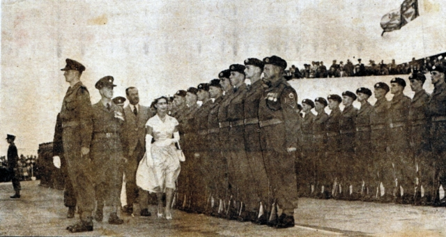 HRH Princess Margaret, March 1955, escorted by Major JA Marsh DSO.