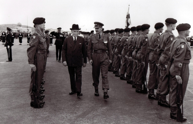 Circa 1956.  Believed to be Canadian Prime Minister.  Escorting Captain believed to be Andrew Arthur.