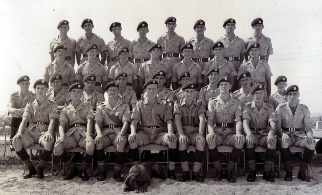 1 Platoon, circa July 1955.  Bill Edwards (Cpl) RIP, 2nd from left, front rank.  Tug Wilson Sgnt.