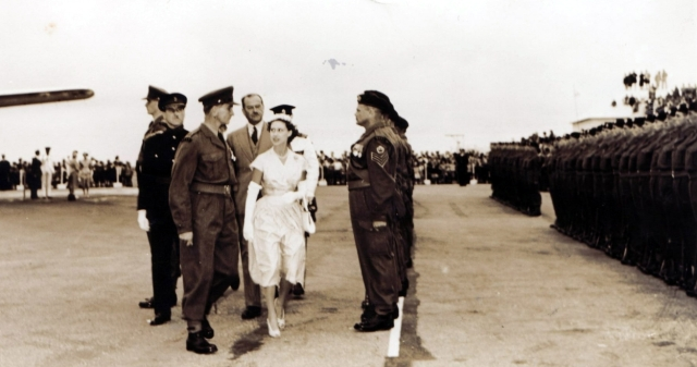 HRH Princess Margaret escorted by Major JA Marsh circa March 1955.
